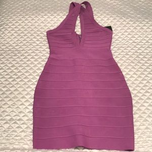 Lavender colored V-neck sleeveless spandex dress